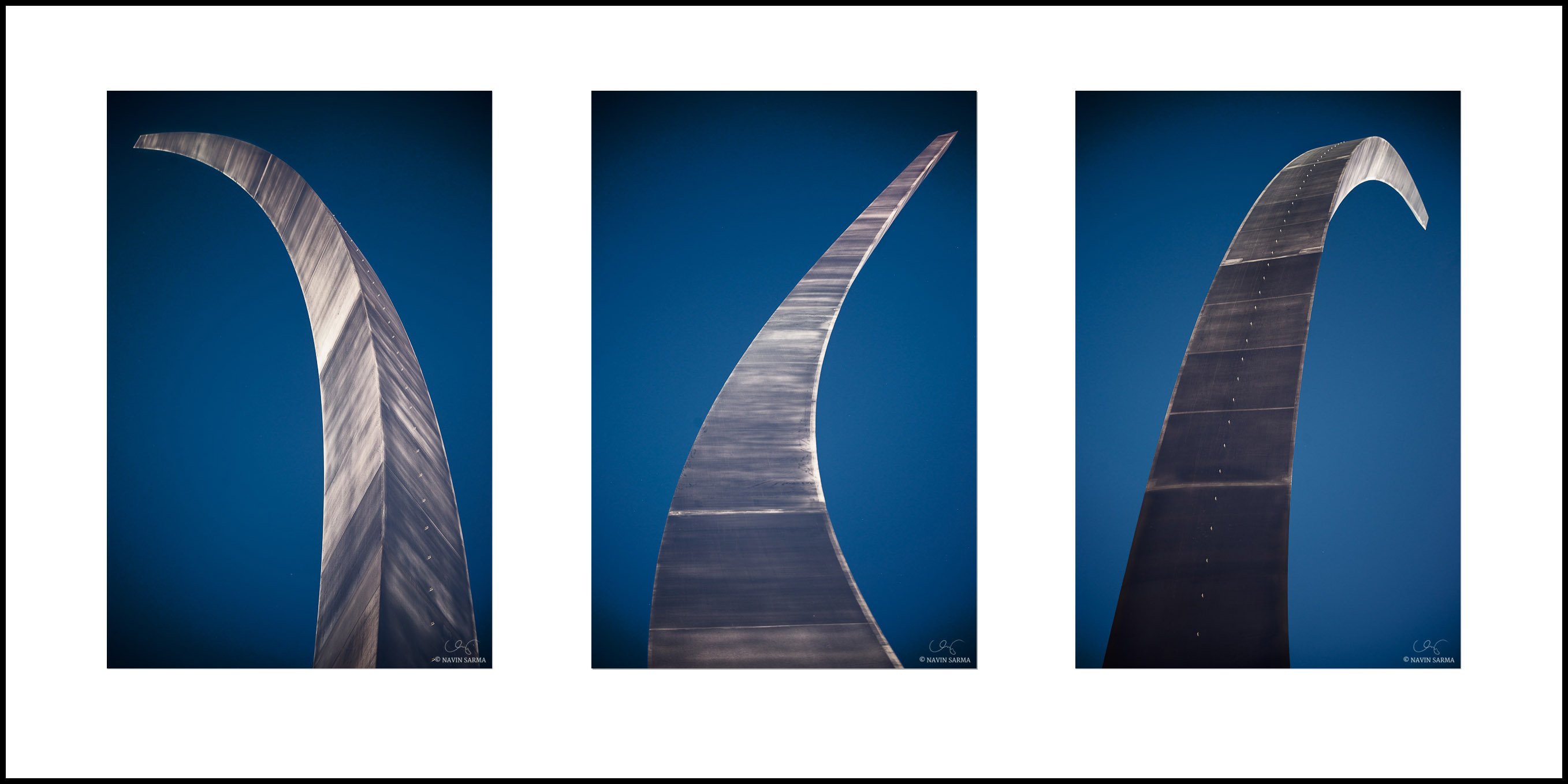 A closeup of the 3 spires that comprise the Air Force Memorial and Missing Man Formation