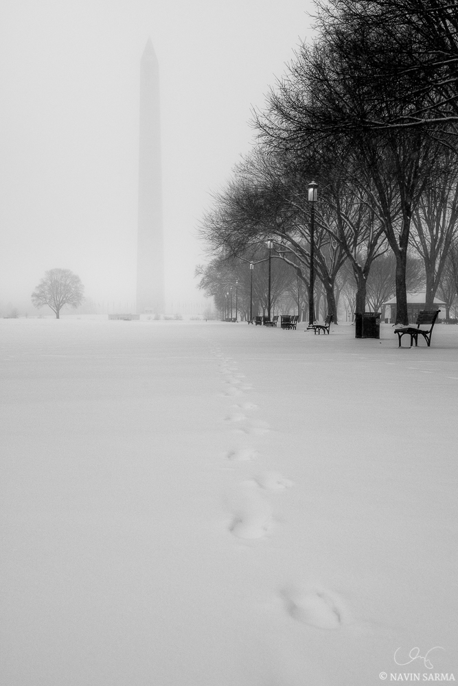 Lone trails in the snow lead to the Washington Monument on the misty, snowy National Mall