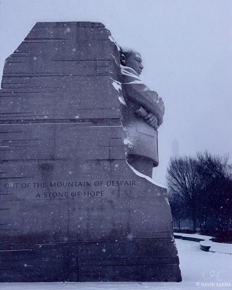 Martin Luther King Memorial in the Snow, Blizzard 2016 in Washington DC