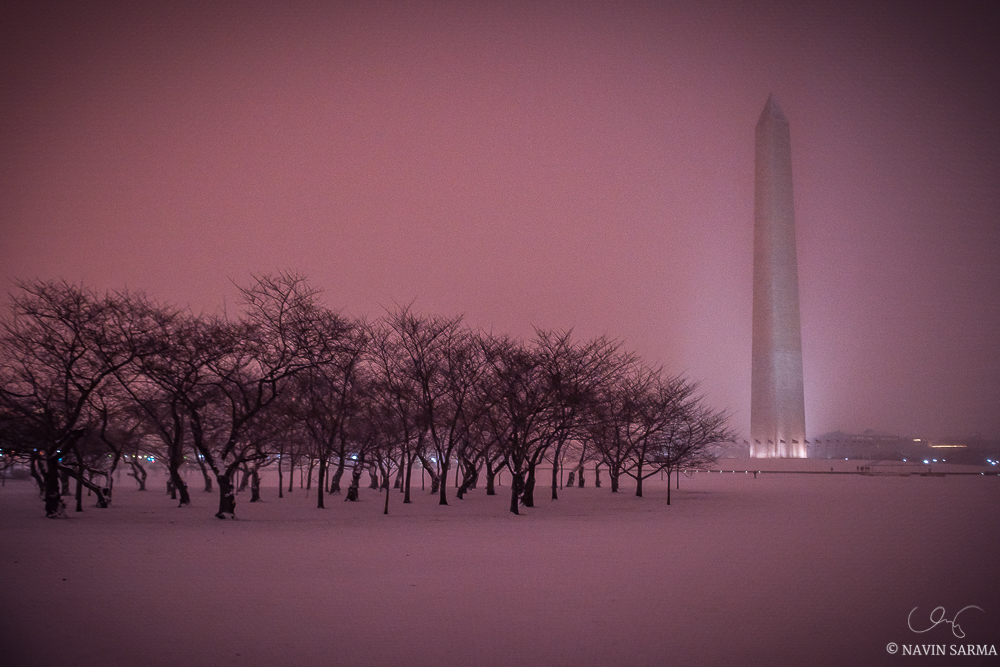 Purple hues at sunset in Washington DC on the first night of the 2016 Blizzard
