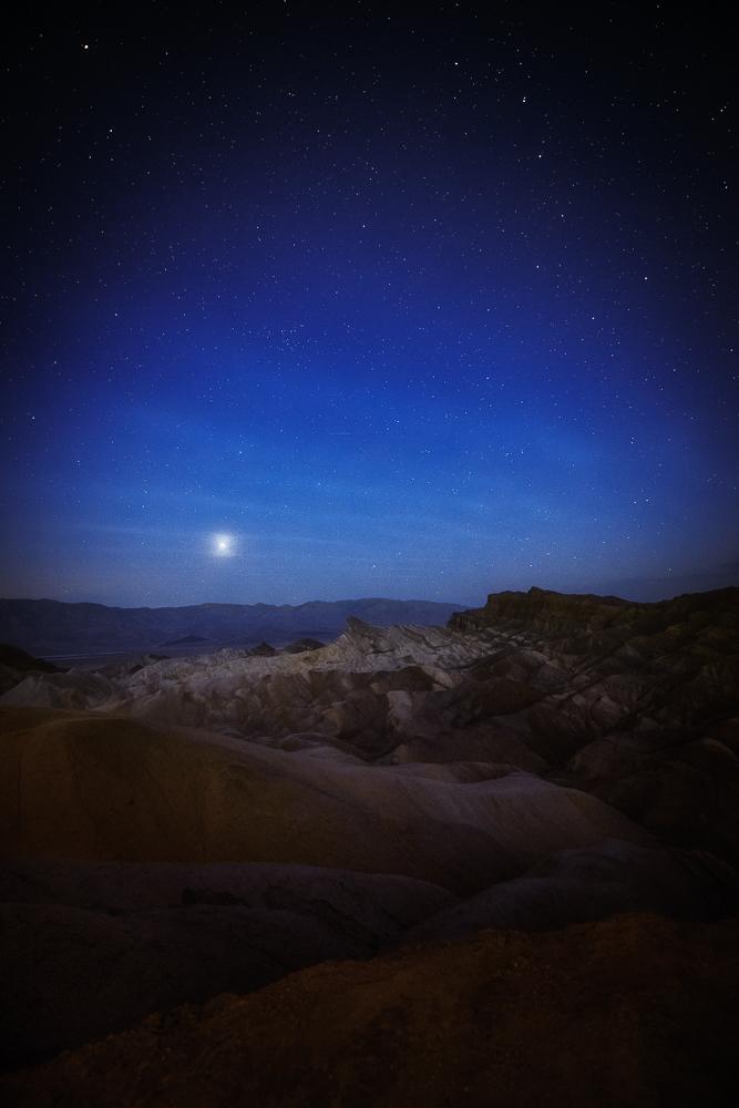 Predawn blues, stars, and venus shine over Zabriskie Point