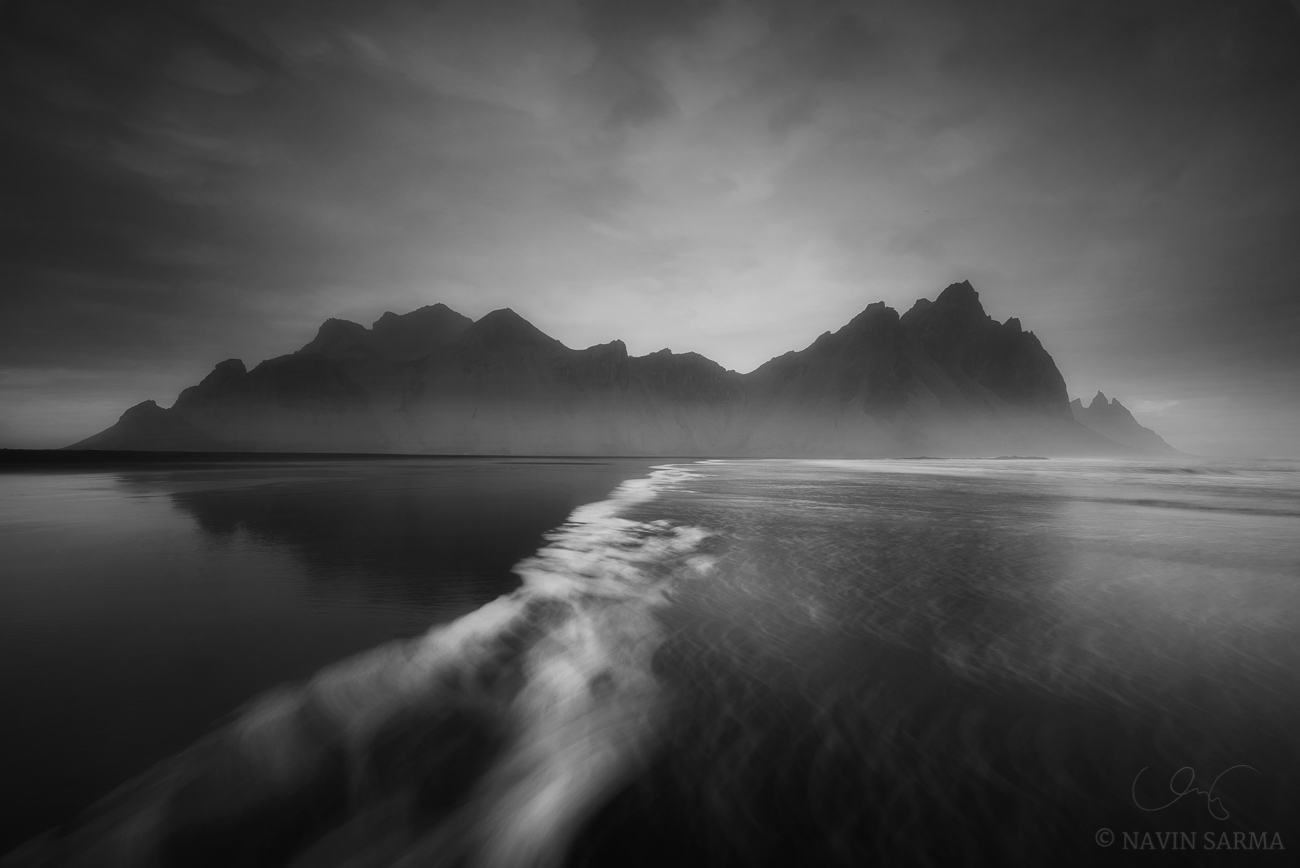 A long exposure as the tide creeps on the Stokksnes beach before the Vesturhorn mountain