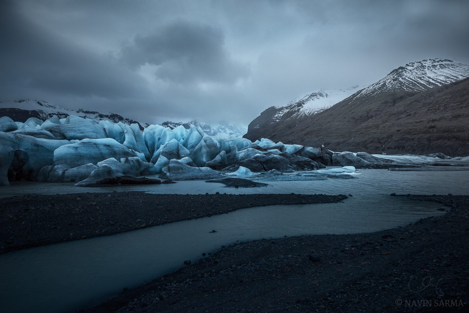 Edge of the Glacier - Glacial streams and massive shapes take form at the edge of one of the fingers of the Vatnajökull glacier