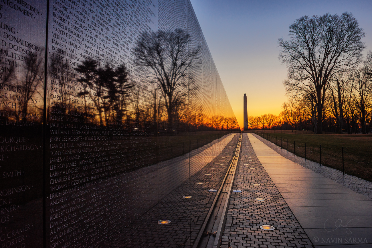 A clear and cold sunrise at the Vietnam Memorial