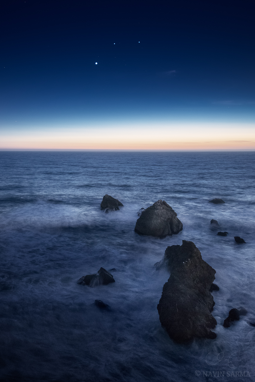 Threes Tango - Sea stacks dance with Venus and early evening stars over the rough Pacific